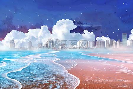 傍晚的海边图片