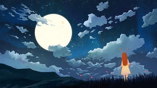 夜空下的女孩图片