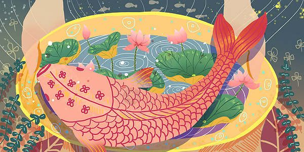 年年有鱼儿童画 儿童年年有鱼绘画图片