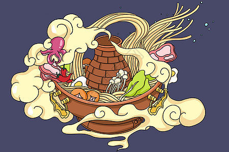 火锅手绘插画图片
