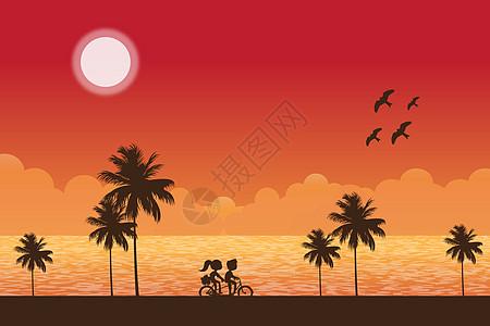 情侣单车风景图片