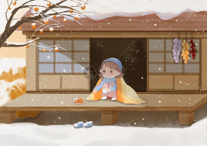 看雪的小女孩图片