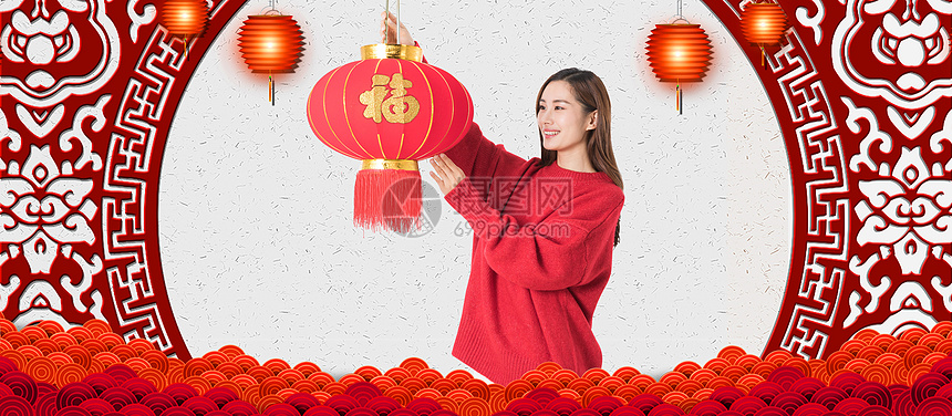 新年喜庆挂灯笼背景图片