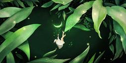 沉睡在树丛的精灵图片