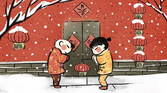 春节喜庆图片_年画娃娃插画图片下载-正版图片400089444-摄图网
