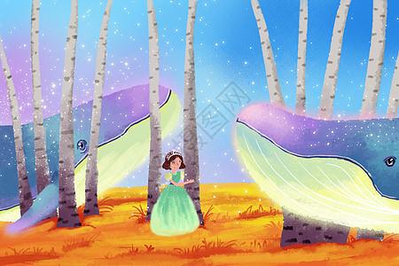 童话公主鲸鱼插画图片