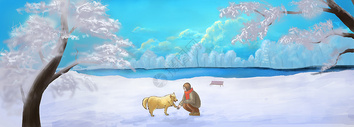 雪地少女与狗图片