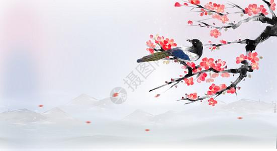 中国风水墨插画图片