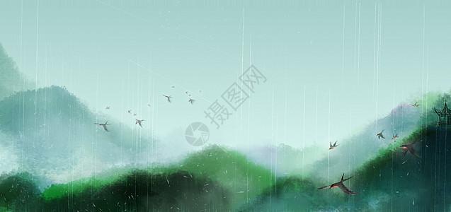 雨中山色图片