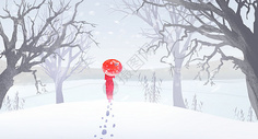 冬天雪景插画图片