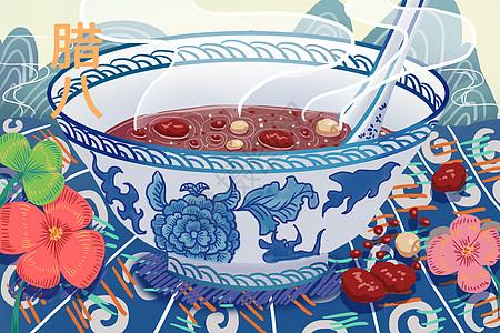 腊八粥青花瓷背景插画图片
