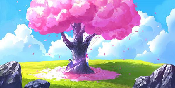 樱花树下的爱情图片