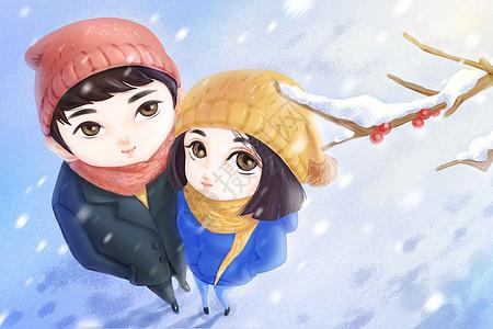 雪中的情侣图片