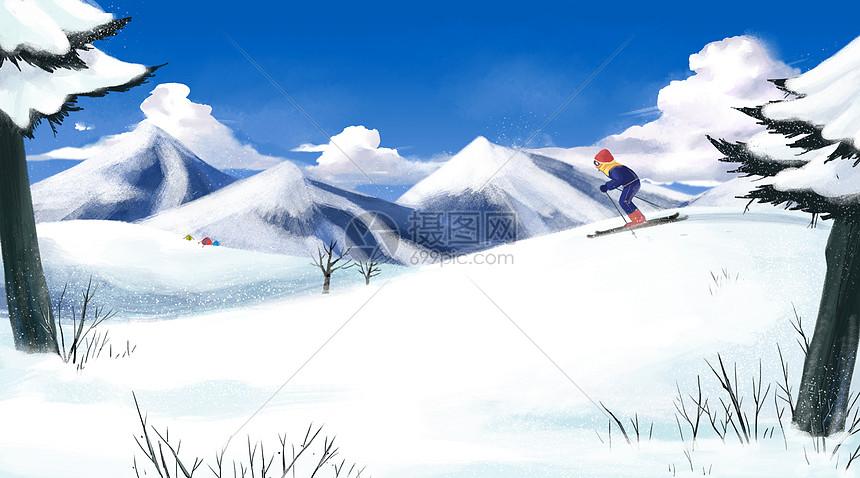 冬日滑雪者图片