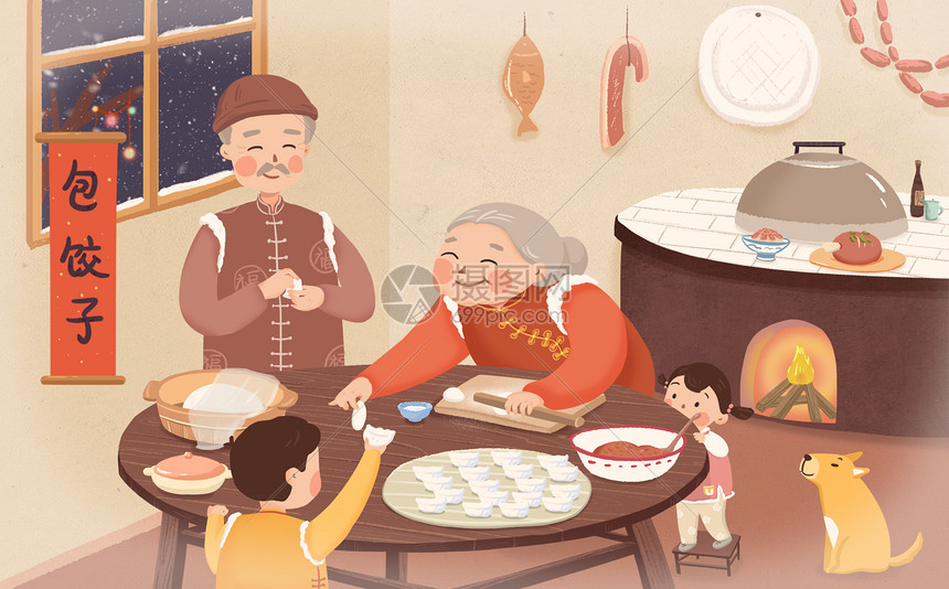 过年包饺子图片