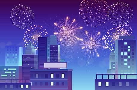 矢量城市烟火夜景图片