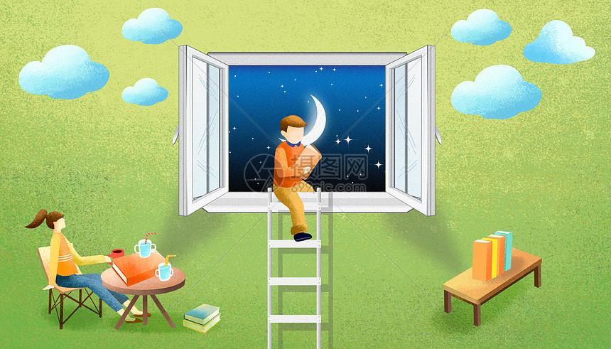 星空下窗边看书孩子图片