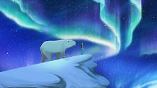 北极熊与极光插画图片