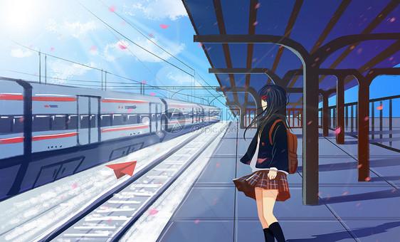 高铁站台上的少女图片