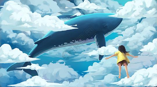 云中遨游的鲸鱼与女孩图片