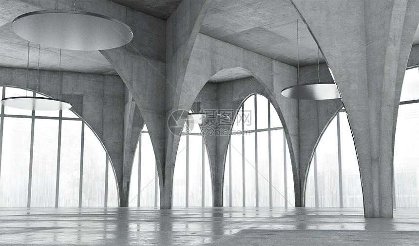 城市建筑科技几何体图片