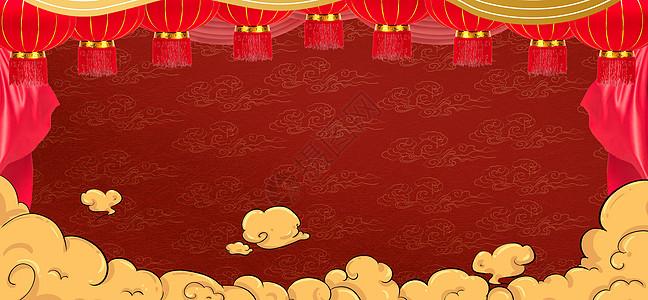 中式红色喜庆新年背景图片
