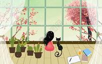 凝望窗外樱花图片