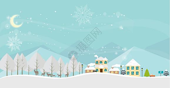 卡通城市雪景图片