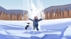 雪地玩耍图片