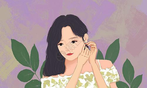 美女戴耳环图片