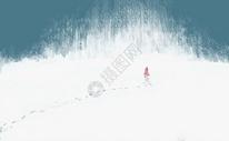 大雪中的女孩图片
