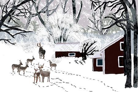 麋鹿在弥漫的大雪下散步图片