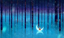 夜晚梦幻树林图片
