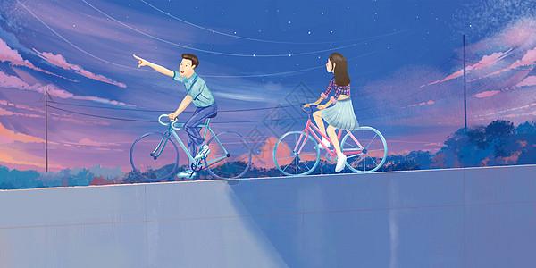 夜空下的骑行图片