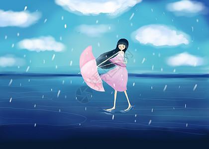 雨天的海上女孩图片