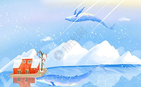 雪山的鲸图片