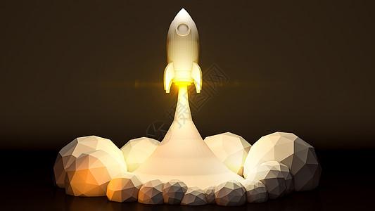 低多边形升空火箭图片