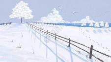 冬季雪地插画图片