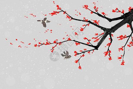 清新中国风水墨冬梅与麻雀插画图片