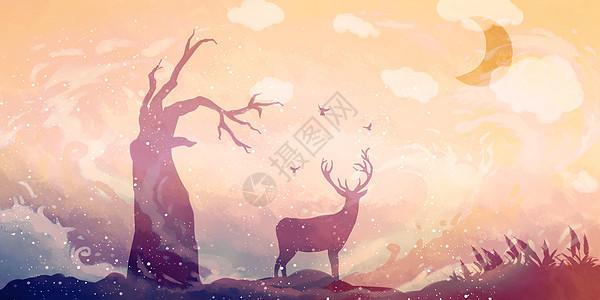 枯树与鹿图片