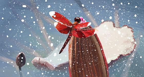 雪里的红蜻蜓图片