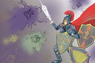 对抗流感创意插画图片