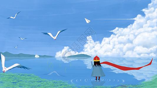 湖边玩纸飞机的小女孩插画图片
