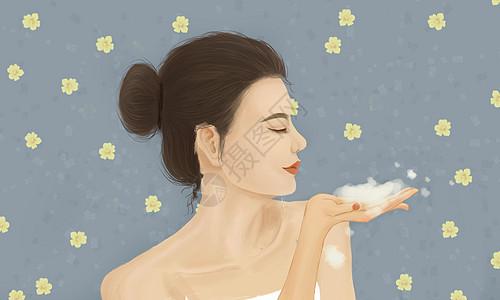 美女洗澡护肤图片