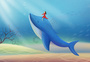 梦幻海底的海豚和女孩图片