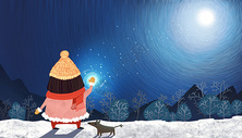 雪夜女孩图片