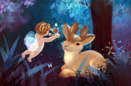 麋鹿和小精灵图片