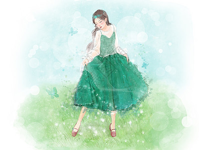 少女与蝴蝶图片