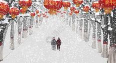 新年雪景图片