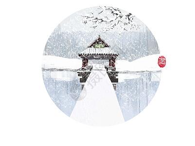 冬季亭子图片